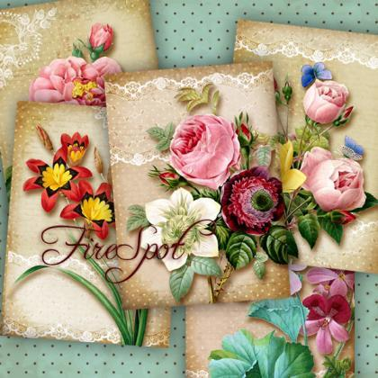 Vintage Flowers-Digital Collage She..