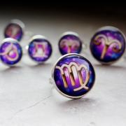 Galaxy Ring.constellation Ring.Aries.Taurus.Gemini.Cancer.Leo.Virgo.Libra.Scorpio.Sagittarius.Capricorn.Aquarius.Pisces.14mm.Ring handmade (RR21)