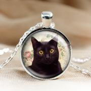 Black Cat Glass Pendant Cat Necklace,Pendants.Photo Jewelry.picture Pendant Photo Necklace Cat Jewelry (HD65)