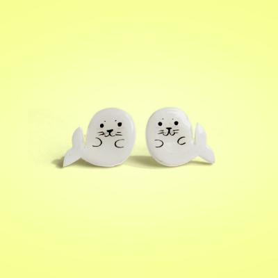 Seal Animal shrink plastic 925 silver Stud Earrings,handmade,Seal Earrings,Seal Jewelry, Girls Earrings (RSP6)