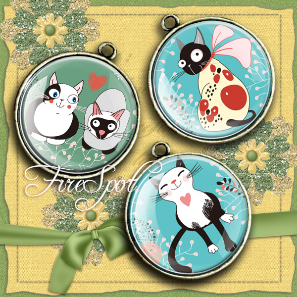 Cat,Animal - Digital Collage Sheet 20 mm, 18 mm, 16 mm, 14 mm, 12 mm circles ,Cartoon,Glass Pendants ,printable images,Scrapbooking