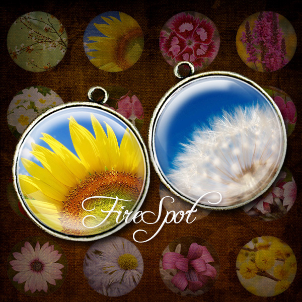 Flowers Plant Picture - Digital Collage Sheet 20 mm, 18 mm, 16 mm, 14 mm, 12 mm circles Scrapbooking Bottlecaps,Glass Pendants,Charms