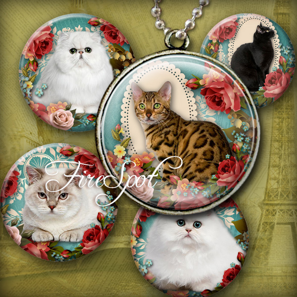 Vintage Flowers Pet Cat- Digital Collage Sheet 1.5 inch,1.25 inch,30 mm,1 inch,25 mm Round printable images for Glass Pendants Scrapbooking