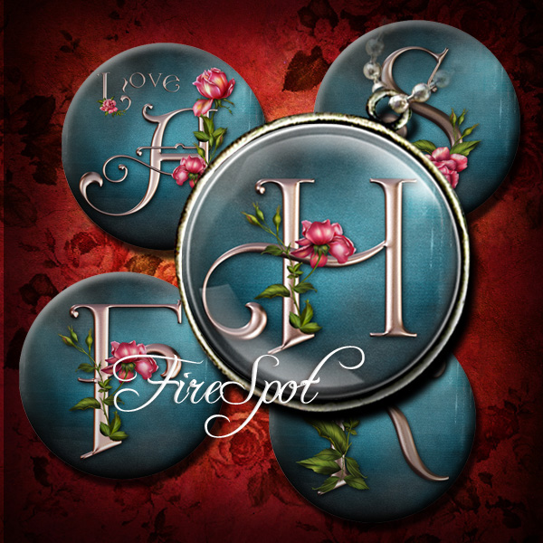 Vintage Rose Letters-Digital Collage Sheet 1.5 inch,1.25 inch,30mm,1 inch,25mm Round printable images,Glass Pendants Scrapbooking Bottlecaps