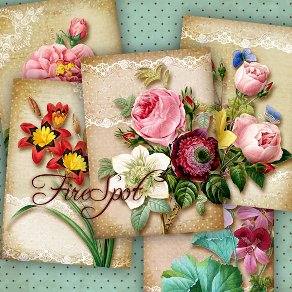 Vintage Flowers-Digital Collage Sheet 2.5x3.5 inches set of 8,Printable Gift tags,Downloadable images Print Scrapbooking bookmark
