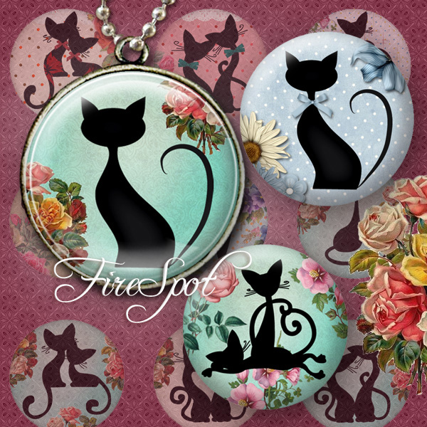 Cartoon Black Cat - Digital Collage Sheet,1.5 inch,1.25 inch,30mm,1 inch,25mm Charms.Animal,Jewelry.Scrapbooking.Glass Pendants.Charms