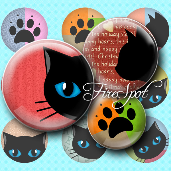 Black Cat,-Digital Collage Sheet 20mm, 18mm, 16mm, 14mm, 12mm Round, animal, Cat-pad, Glass Pendants, Bottlecaps,Scrapbooking