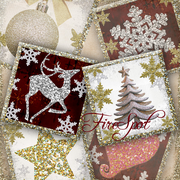 Christmas,Xmas,heart,Snow - Digital Collage Sheet 1.5inch,1 inch,25 mm,20 mm Square printable images,Pendants, Bottlecaps,Scrapbooking