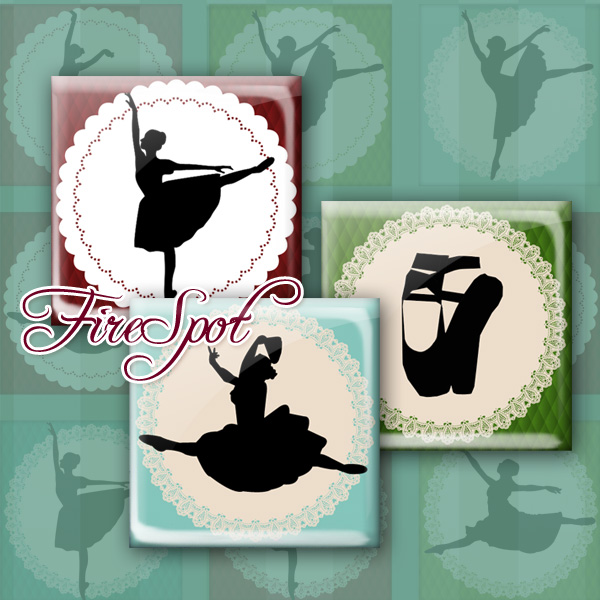 Ballet.Dance.Girl-Digital Collage Sheet 1.5inch,1 inch,25 mm,20 mm Square Glass Pendants, Bottlecaps,Scrapbooking