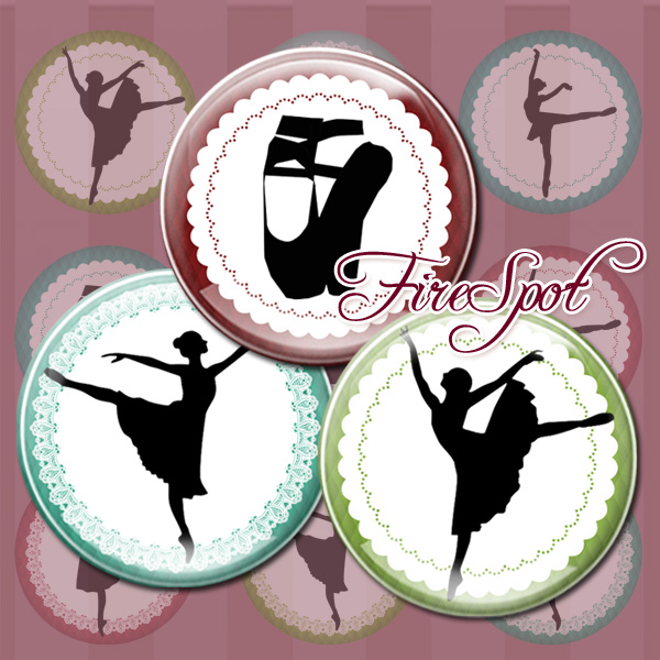 Ballet.Dance.Girl,-Digital Collage Sheet 1.5 inch,1.25 inch,30 mm,1 inch,25 mm Circles, Glass Pendants, Bottlecaps,Scrapbooking
