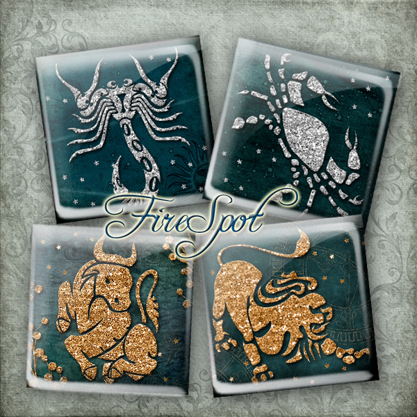 Twelve constellations.Zodiac sign -Digital Collage Sheet 1.5inch,1 inch,25 mm,20 mm Square Glass Pendants, Bottlecaps,Scrapbooking