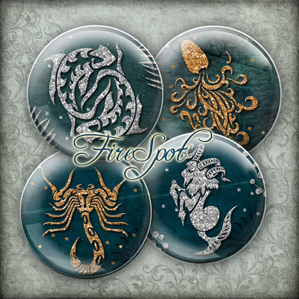 Constellations.Zodiac sign-Digital Collage Sheet 20mm, 18mm, 16mm, 14mm, 12mm circle printable images.Glass Pendant.Scrapbooking