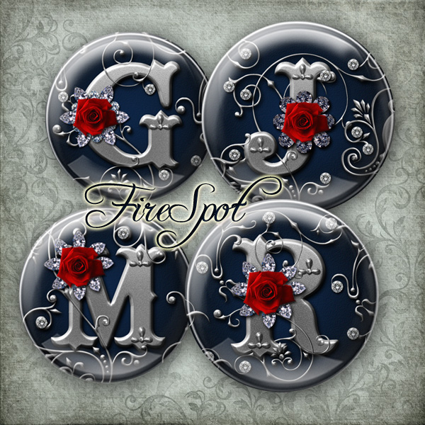 Rose alphabet,silver letter - Digital Collage Sheet 20mm, 18mm, 16mm, 14mm, 12mm circle Glass Pendants,Bottlecaps,Scrapbooking