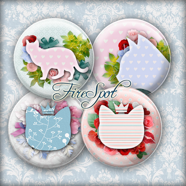 Fresh Cat flower blue pink -Digital Collage Sheet 20mm, 18mm, 16mm, 14mm, 12mm Round,animal, Cat-pad, Glass Pendants,Scrapbooking