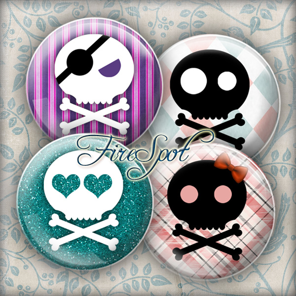 Black Skull white Skull Hallowmas-Digital Collage Sheet 20mm, 18mm, 16mm, 14mm, 12mm circles Scrapbooking glass Pendant Bottlecaps