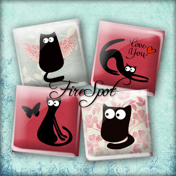 Cartoon Black Cat - Digital Collage Sheet 1.5 inch,1 inch,25mm, 20mm Square,Cartoon Animal,printable images for Pendants, Ring,Charms