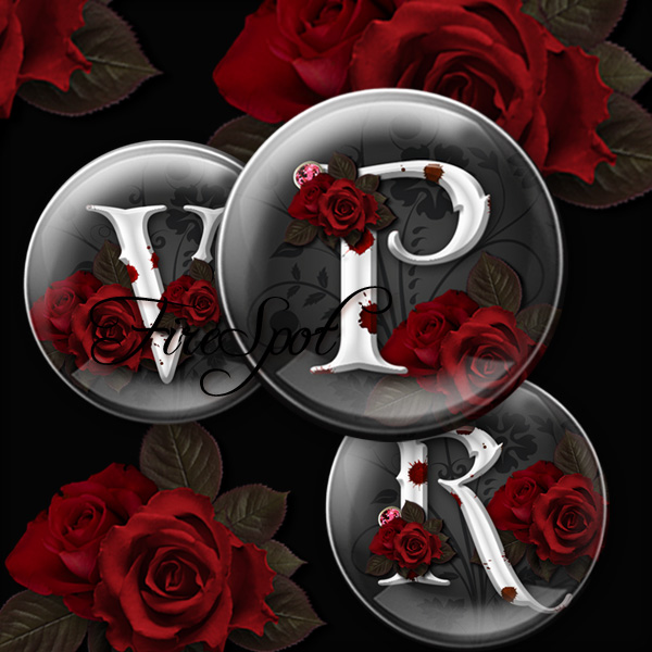 Gothic style Red Rose Letter alphabet - Digital Collage Sheet 20mm 18mm 16mm 14mm 12mm circle Glass Pendants,Instant Download Scrapbooking