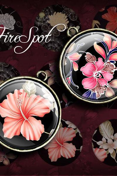 Vintage Flowers - Digital Collage Sheet 20mm, 18mm, 16mm, 14mm, 12mm circles,round,printable images for Pendant, Charms Scrapbooking