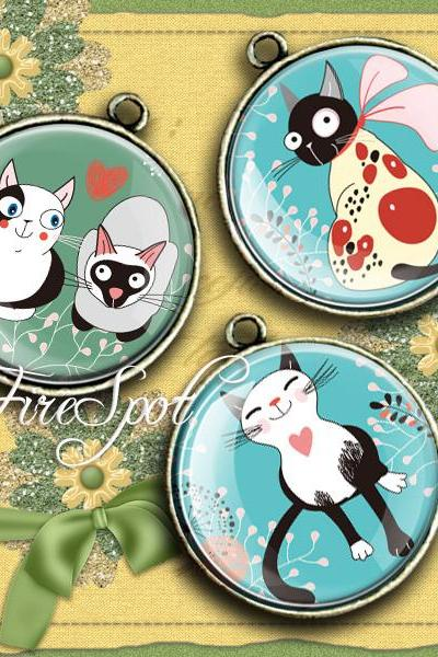 Cat,Animal - Digital Collage Sheet 1.5 inch,1.25 inch,30 mm,1 inch,25 mm circles ,Cartoon,Illustration,printable images,Scrapbooking