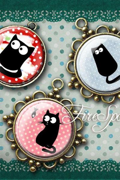 Cartoon Black Cat - Digital Collage Sheet 1.5 inch,1.25 inch,30mm,1 inch,25mm circles Animal,printable images,Glass Pendants,Scrapbooking