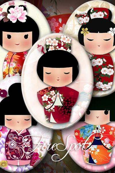 Japanese Dolls - Digital Collage Sheet 30x40 mm,22x30 mm,18x25 mm,13x18 mm Oval Glass Pendants, Washi Kokeshi,Girl,Scrapbooking