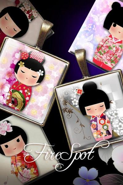 Japanese Dolls - Digital Collage Sheet 1 inch,25mm, 20mm Square printable images for Glass Pendant, Washi Kokeshi,Scrapbooking,Bottle caps