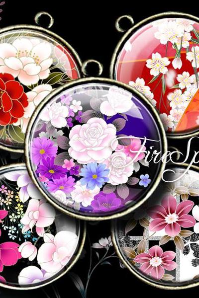 Japanese Flowers - Digital Collage Sheet 1.5 inch,1.25 inch,30mm,1 inch,25mm round,printable images for Pendant,Charms,Bottlecaps