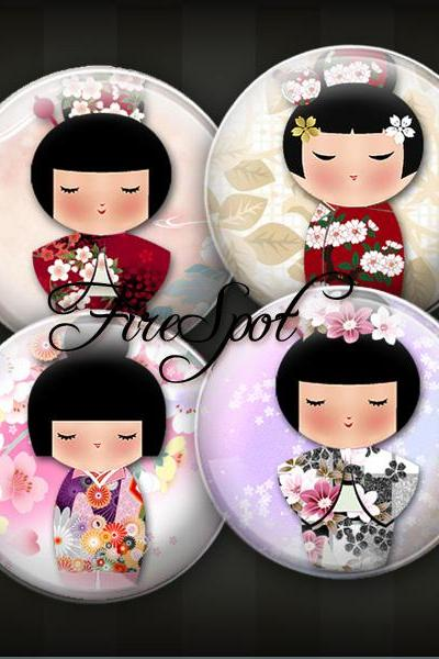 Washi Kokeshi - Digital Collage Sheet 18 mm 16 mm 14 mm 12 mm circles printable images Pendants,Japanese Dolls,Scrapbooking