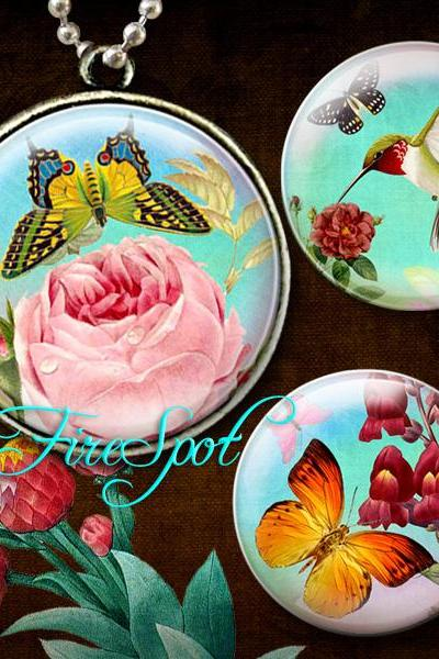 Vintage Painting Flowers Butterfly Bird - Digital Collage Sheet 1.5 inch,1.25 inch,30mm,1 inch,25mm Round Scrapbooking Instant download