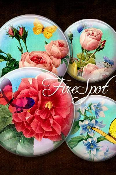 Vintage Painting Flowers Butterfly Bird - Digital Collage Sheet 20mm, 18mm, 16mm, 14mm, 12mm Round Scrapbooking Instant download