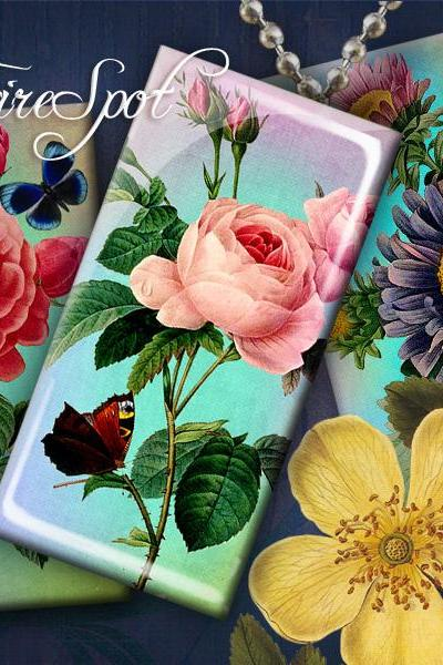 Vintage Painting Flowers - Digital Collage Sheet Bottlecaps of 1x2 inch and 15x30 mm Dominoes Scrapbooking Instant download