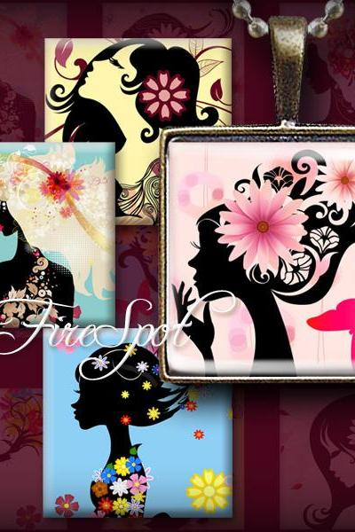 Silhouettes Flowers Girl-Digital Collage Sheet 1.5 inch 1 inch,25 mm,20 mm Square Scrapbooking Pendant Charms Magnets Stickers Bottlecaps