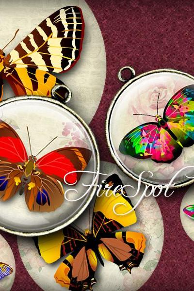 Vintage Butterfly-Digital Collage Sheet 20 mm, 18 mm, 16 mm, 14 mm, 12 mm Round Printable Download,Glass Pendants,animal,Scrapbooking