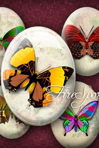 Vintage Butterfly- Digital Collage Sheet 30x40 mm,22x30 mm,18x25 mm,13x18 mm Oval Printable Download for Glass Pendants,animal,Scrapbooking