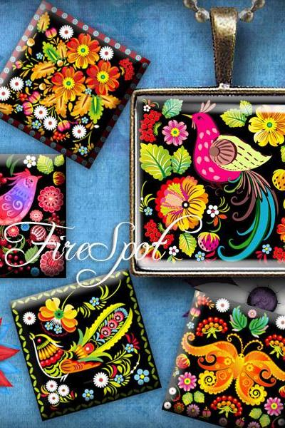 Vintage Butterfly,Flower,Birdie- Digital Collage Sheet ,1.5 inch 1 inch,25 mm,20 mm Square printable images for Pendants,Scrapbooking