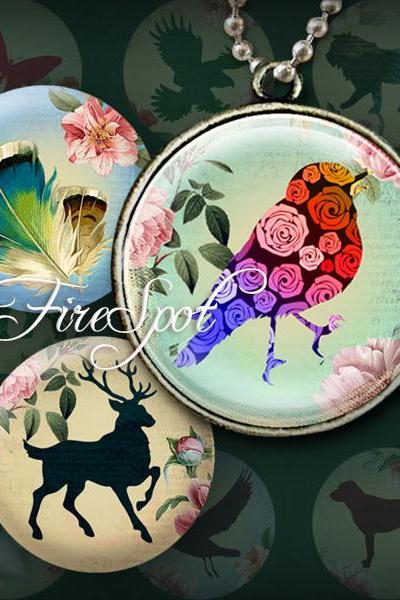 Vintage Flower Sketch Animal- Digital Collage Sheet 1.5 inch,1.25 inch,30 mm,1 inch,25 mm circles Glass Pendants Scrapbooking