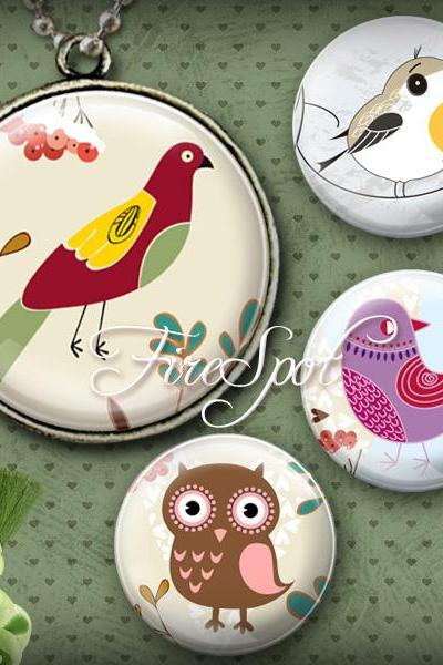 Vintage Birdie-Digital Collage Sheet 20mm, 18mm, 16mm, 14mm, 12 mm Round printable images for Glass Pendants Scrapbooking Bottlecaps