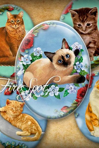 Vintage Cat - Digital Collage Sheet 30x40 mm,22x30 mm,18x25 mm,13x18 mm Oval Printable Download for Glass Pendants,Scrapbooking,Bottlecaps