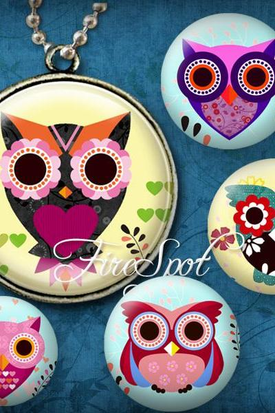 Multicolour Owl,Animal- Digital Collage Sheet,20 mm, 18 mm, 16 mm, 14 mm, 12 mm Round printable images for Glass Pendants Scrapbooking