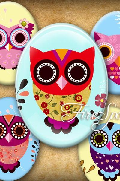 Multicolour Owl,Birdie-Digital Collage Sheet 30x40 mm,22x30 mm,18x25 mm,13x18 mm Oval Charms Printable Download Bottlecaps,Pendants