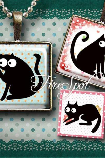 Cartoon Black Cat - Digital Collage Sheet 1.5 inch,1 inch,25mm, 20mm Square,Cartoon Animal,printable images for Pendants, Ring,Char