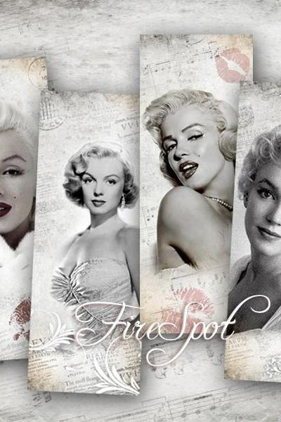 Marilyn Monroe-Digital Collage Sheet 2x5.2 inches set of 6,Vintage Image ,Downloadable images Print Scrapbooking bookmark Beautiful Lady