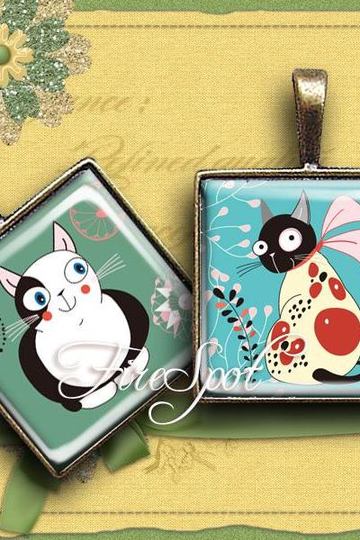 Cartoon Cat - Digital Collage Sheet 1.5inch,1 inch,25 mm,20 mm Square ,Cartoon Animal,printable images for Pendants, Ring,Charms, Jewelry