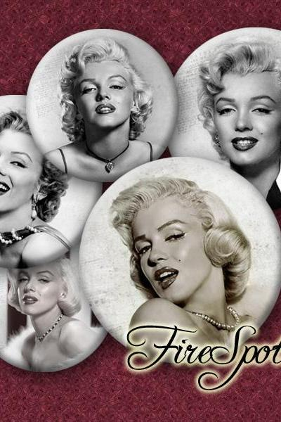 Marilyn Monroe - Digital Collage Sheet ,1.5 inch,1.25 inch,30mm,1 inch,25mm Round printable images.glass Pendants.Scrapbooking.Bottlecaps