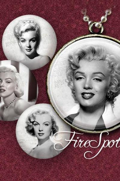 Marilyn Monroe - Digital Collage Sheet ,20mm, 18mm, 16mm, 14mm, 12mm Round printable images.glass Pendants.Scrapbooking.Bottlecaps