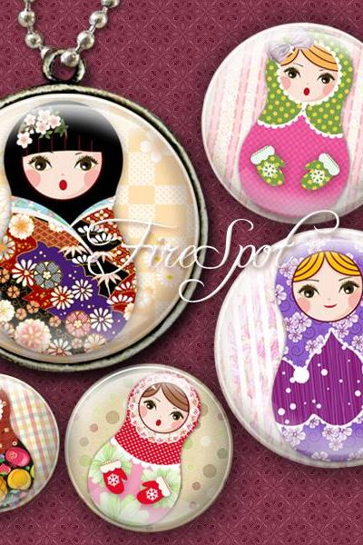 Russian Nesting Dolls,Matryoshka,-Digital Collage Sheet 1.5 inch,1.25 inch,30 mm,1 inch,25 mm Round, Glass Pendants, Bottlecaps,Scrapbooking