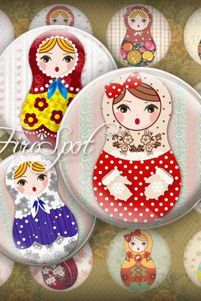 Russian Nesting Dolls,Matryoshka,-Digital Collage Sheet 20mm, 18mm, 16mm, 14mm, 12mm Round, Glass Pendants, Bottlecaps,Scrapbooking