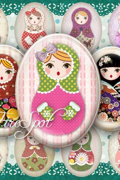 Russian Nesting Dolls,Matryoshka,-Digital Collage Sheet 30x40 mm,22x30 mm,18x25 mm,13x18 mm Oval , Glass Pendants, Bottlecaps,Scrapbooking