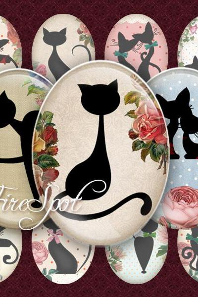 Cartoon Black Cat - Digital Collage Sheet, 30x40 mm,22x30 mm18x25 mm,13x18 mm Oval .Animal,Jewelry.Scrapbooking.Glass Pendants.Charms