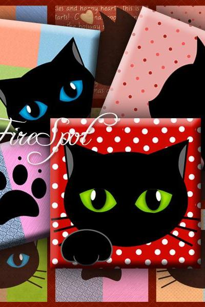 Black Cat - Digital Collage Sheet 1.5inch,1 inch,25 mm,20 mm Square,animal, Cat-pad,printable images,glass Pendants, Bottlecaps,Scrapbooking